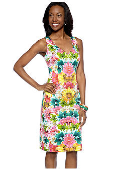 London Times Plus Size Sleeveless Printed Sheath Dress