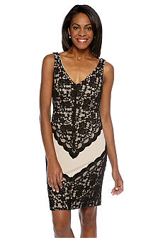 London Times Sleeveless Lace Overlay Sheath Dress