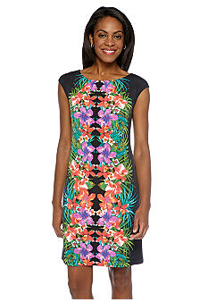 London Times Cap-Sleeved Mirror Print Shift Dress