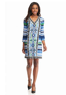London Times Printed Jersey Shift Dress