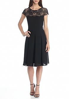 London Times Lace Yoke Fit and Flare Dress