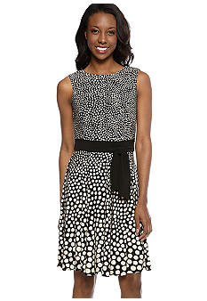 Taylor Sleeveless Twin Dot Printed Dress