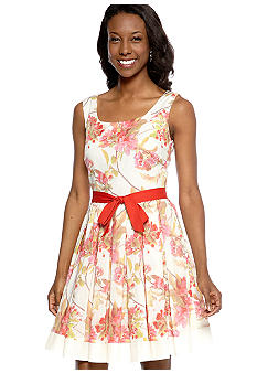 Taylor Sleeveless Floral Fit and Flare Dress