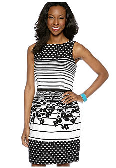 Taylor Sleeveless Jacquard Print Dress