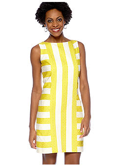 Taylor Sleeveless Jacquard Stripe Shift Dress