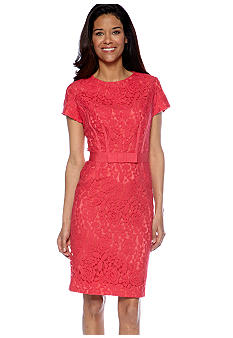 Taylor Cap-Sleeved Allover Lace Sheath Dress