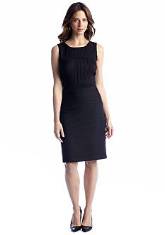 Taylor Sleeveless Pintucked Knit Sheath Dress