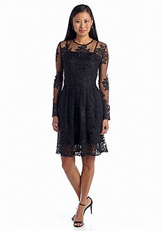 Taylor Lace Overlay Fit and Flare Dress
