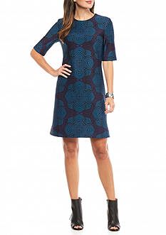 Taylor Printed Scuba Sheath Dress