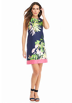 Taylor Tropical Print Shift Dress