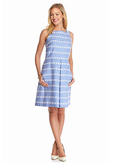 Taylor Chambray Striped Fit and Flare Dress