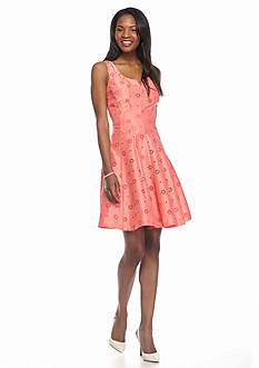 Taylor Shantung Eyelet Fit and Flare Dress