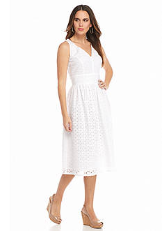 Taylor Eyelet Fit-and-Flare Dress