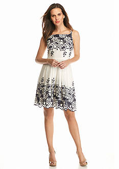Taylor Embroidered Fit and Flare Dress