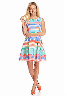 Taylor Printed Fit and Flare Dress