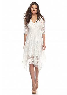 Taylor Hanky Hem Lace Dress