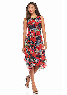 Taylor Floral Printed Hankie Hem Dress