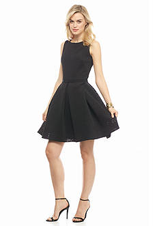 Taylor Laser Cut Scuba Fit and Flare Dress