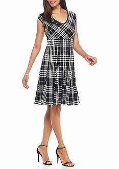 Taylor Jacquard Knit Fit and Flare Dress