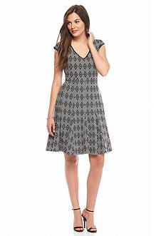 Taylor Printed Scuba Fit and Flare Dress