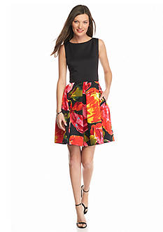Taylor Floral Printed Scuba Fit and Flare Dress
