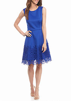 Taylor Mixed Media Fit and Flare Dress