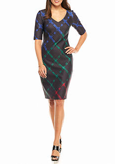 Taylor Plaid Scuba Sheath Dress