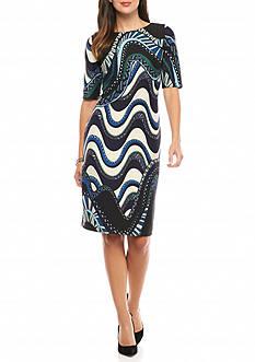 Taylor Abstract Printed Scuba Sheath Dress