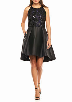 Taylor Beaded Bodice Fit and Flare Halter Dress