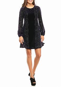 Taylor Velvet Burnout Trapeze Dress