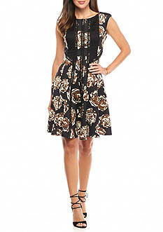 Taylor Floral Scuba Fit and Flare Dress with Crochet Trim