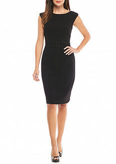Taylor Stretch Crepe Sheath Dress with Stud Trim