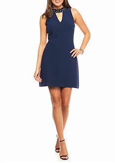 Taylor Embellished Neckline Sheath Dress