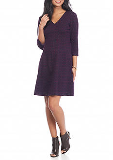 Taylor Printed Jacquard Fit and Flare Dress