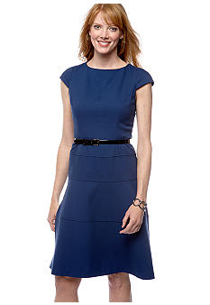 Anne Klein Cap-Sleeved Belted A-Line Dress