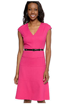 Anne Klein Cap-Sleeved Belted Swing Dress