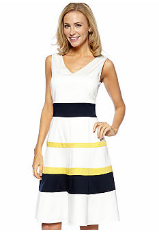 Anne Klein Sleeveless V-Neck Colorblock Dress