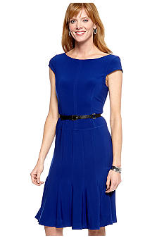 Anne Klein Cap-Sleeved Matte Jersey Belted Dress