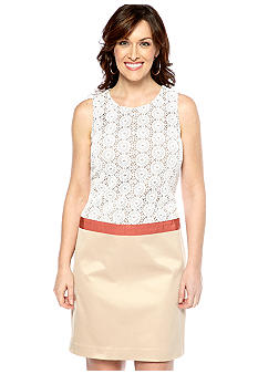Anne Klein Sleeveless Drop Waist Dress with Crochet Bodice