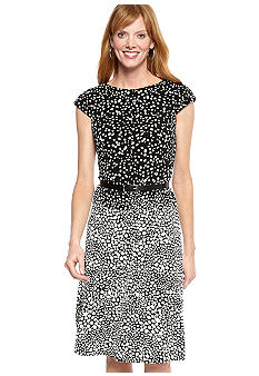 Anne Klein Cap-Sleeved Polka Dot Dress