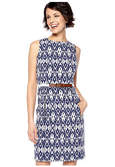 Anne Klein Sleeveless Printed Belted Sheath Dress