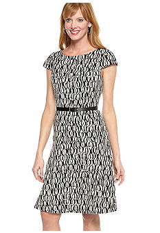 Anne Klein Cap-Sleeved A-Line Belted Dress