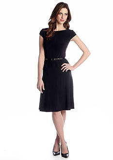 Anne Klein Cap-Sleeve Fit and Flare Belted Dress