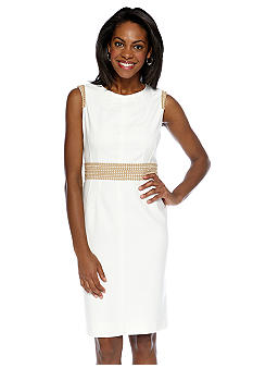 Anne Klein Sleeveless Sheath Dress with Embroidery Detail