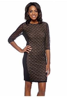 Anne Klein Three-Quarter Sleeved Lace Overlay Sheath Dress