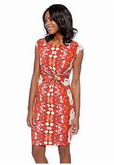 Anne Klein Cap-Sleeved Printed Sheath Dress