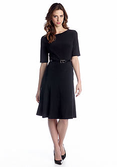 Elbow-Sleeve Fit and Flare Belted Dress