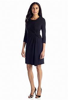 Anne Klein Matte Jersey Faux Wrap Dress with Embellished Neckline