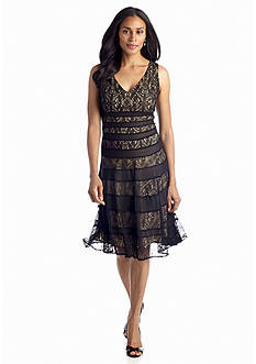 Anne Klein Lace Banded Fit-and-Flare Dress