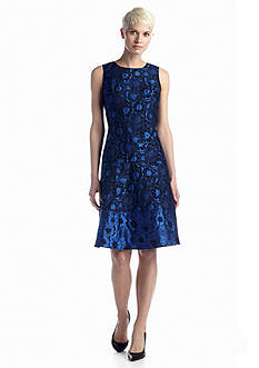 Anne Klein Floral Jacquard Fit-and-Flare Dress